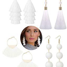 LOYALLOOK 4Pairs Tassel Earrings For Women Fan Shape Tassel Earrings Long Thread Tassel Earrings ...   Amazon (US)