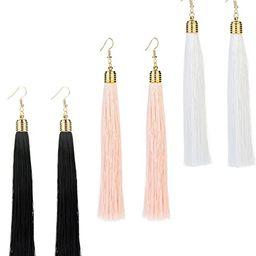 REVOLIA 3 Pairs Womens Long Tassel Dangle Earrings for Girls Fringe Drop Earrings Elegant   Amazon (US)