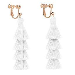 Tassel Tiered Clip on Earrings Handmade 4 Layers Elegant Thread Drop Dangle for Women Girls Jewel...   Amazon (US)