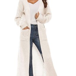 Womens Casual Long Sleeve Split Open Cardigan Knit Long Cardigan Sweaters with Pockets | Amazon (US)