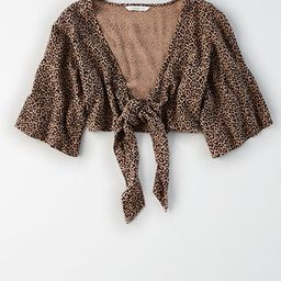 AE Leopard Tie Front Crop Top | American Eagle Outfitters (US & CA)