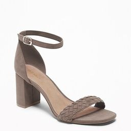 Faux-Suede Braided-Strap Block-Heel Sandals for Women   Old Navy US