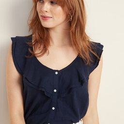 Ruffle-Tiered Linen-Blend Button-Front Blouse for Women | Old Navy US