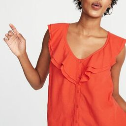 Sleeveless Ruffle-Trim Button-Front Blouse for Women | Old Navy US