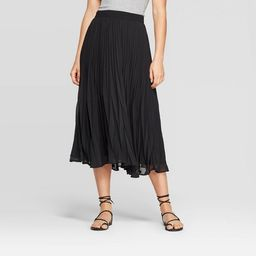 Women's Mid-Rise Pleated Midi Skirt - A New Day™ Black   Target