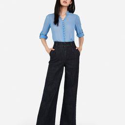 slim fit ruffle chiffon portofino shirt | Express