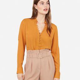 slim fit ruffle collar portofino shirt | Express