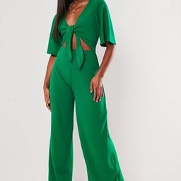 Green Kimono Sleeve Cut Out Jumpsuit   Missguided (US & CA)