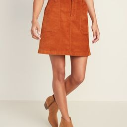 High-Waisted Corduroy Utility-Pocket Mini for Women | Old Navy US