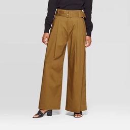 Women's Mid-Rise Wide Leg Pleated Pants - Who What Wear™ Green | Target