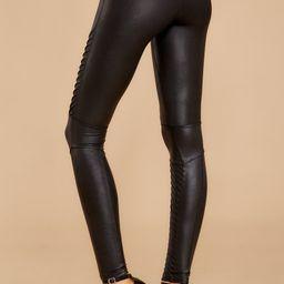 Black Faux Leather Moto Leggings | Red Dress