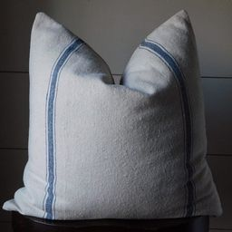 Grain Sack Pillow Cover | Ticking Pillow Cover | Blue 3 Stripe | Beige Fabric | Zipper Closure | Etsy (US)