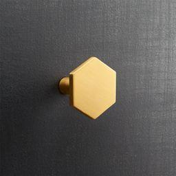 Hex Brushed Brass Knob + Reviews   CB2   CB2