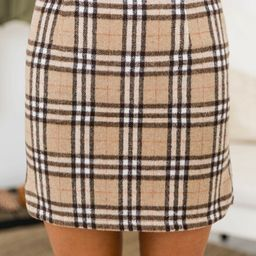 Because I Found You Beige Plaid Skirt   The Pink Lily Boutique