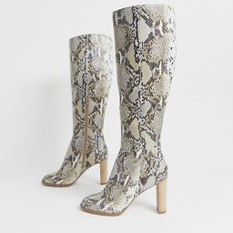ASOS DESIGN Clover premium leather knee high boots in snake | ASOS US
