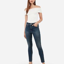 high waisted denim perfect curves lift raw hem zip ankle leggings   Express