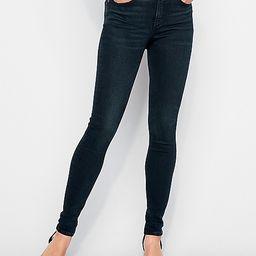 high waisted denim perfect curves dark wash jean leggings   Express