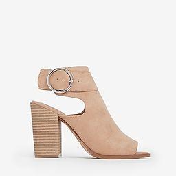 faux suede peep toe buckle heeled booties   Express