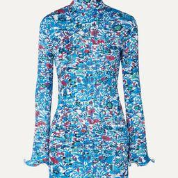 Floral-print plissé-satin mini dress   Net-a-Porter (US)
