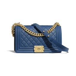 Calfskin & Gold-Tone Metal Dark Blue BOY CHANEL Handbag   CHANEL   Chanel, Inc.