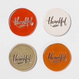 4pk Stoneware Thankful Coasters - Threshold™ | Target