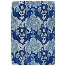 "Manhattan Hand-Tufted Blue Ikat Rug - 5' x 7'6"" | Overstock"