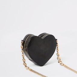 Black quilted heart shape cross body bag                                     £30.00             ... | River Island (UK & IE)