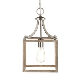Boswell Quarter 9.44 in. 1-Light Brushed Nickel Mini Pendant with Painted Weathered Gray Wood Acc... | The Home Depot