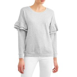 Women's French Terry Pullover with Ruffle Sleeve   Walmart (US)