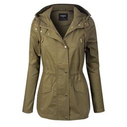 Made by Olivia Women's Lightweight Front Zipper Solid Utility Anorak Hoodie Jacket Light Olive M   Walmart (US)