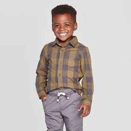 Toddler Boys' Specialty Twill Long Sleeve Buffalo Check Button-Down Shirt - Cat & Jack™ Green | Target