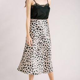 Reagan Beige Leopard Satin Midi Skirt | Morning Lavender