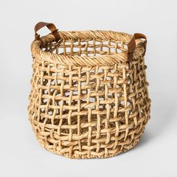 """13.8"""" x 11.8"""" Decorative Water Hyacinth Basket with Leather Handles Natural - Threshold™ 