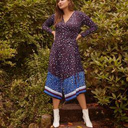 Printed Colorblock Wrap Dress   Women's Plus Size Dresses   ELOQUII   Eloquii