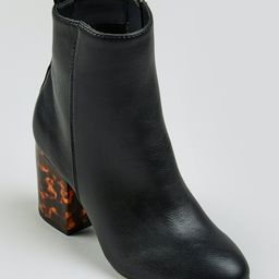 Tortoiseshell Block Heel Ankle Boots – Black | Matalan (UK)