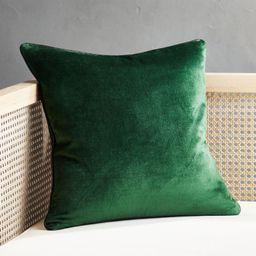 "18"" Emerald Crushed Velvet Pillow with Down-Alternative Insert + Reviews | CB2 | CB2"