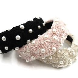 densely pearl embellished headband stylish womens hairband velvet hair accessory | Etsy (US)