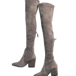 'Carina' Taupe Over The Knee Suede Leather Boots   Goodnight Macaroon