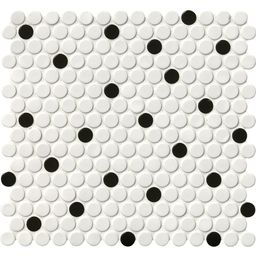 White and Black Glossy Penny Round 12 in. x 12 in. x 6mm Porcelain Mesh-Mounted Mosaic Tile (20 s... | The Home Depot