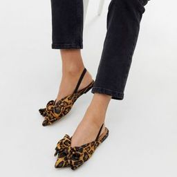 ASOS DESIGN Lips bow slingback ballet flats in leopard | ASOS US