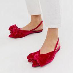 ASOS DESIGN Lips bow slingback ballet flats in pink velvet | ASOS US