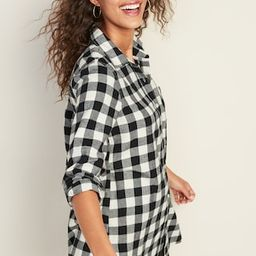 Patterned Flannel Tunic Shirt for Women   Old Navy (US)