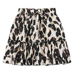 SheIn Women's Leopard Print Drawstring Waist Layer Ruffle Hem Short Skirt | Amazon (US)