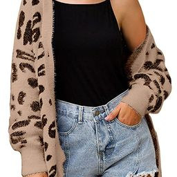 ECOWISH Women Long Sleeve Open Front Leopard Cardigan Casual Knitted Sweater Loose Button Down Co... | Amazon (US)