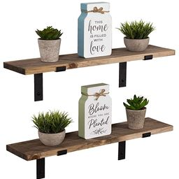 Imperative Décor Rustic Wood Floating Shelves Wall Mounted Storage Shelf with L Brackets USA Han...   Amazon (US)