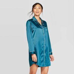 Women's Satin Notch Collar Nightgown - Stars Above™ Teal | Target