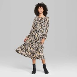 Women's Floral Print Long Sleeve Round Neck Tiered Mesh Midi Dress - Wild Fable™ Black   Target