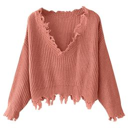 ZAFUL Women's Loose Long Sleeve V-Neck Ripped Pullover Knit Sweater Crop Top | Amazon (US)