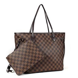 Checkered Women's Tote Handbags Shoulder Bag with inner pouch - PU Vegan Leather 12 inches MM 32 ... | Amazon (US)