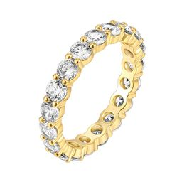 PAVOI 14K Gold Plated Cubic Zirconia Rings | 3.0mm Eternity Bands | Gold Rings for Women | Amazon (US)